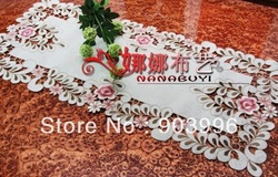 "Embroidery table linen,country living lavender tablecloths, SIZE: 40*85cm(15.7X35.4"")(China (Mainland))"