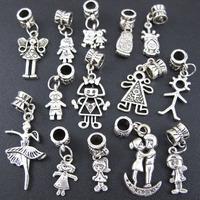 56pcs Tibetan Silver Boy Girl Dangle European Beads Fit Charms Bracelet (2970)