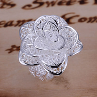 R116 Size opened? 925 silver ring, 925 silver fashion jewelry, Flower Ring