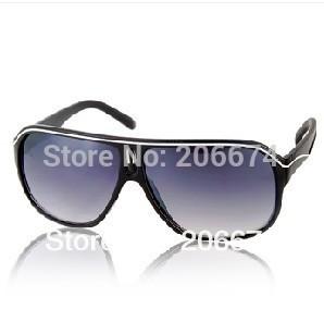 latest style New Unisex Black PC Frame & Gray PC Lens Stylish Sunglasses(Black)+free shipping