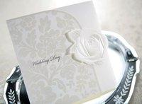 Elegant Embossed White Rose Tri-fold Wedding Invitation (Set of 50) Printable and Customizable Wholesale Free Shipping