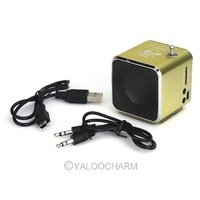 Free shipping! 1PC Yellow Digital  Mini Speaker MP3 Player USB Disk Micro SD TF Card FM Radio Line In/ Out sound box 80996