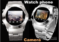 Megatron W968 Watch Phone Camera Quad Band 1.3 Inch Touch Screen Metal shell cell phone(China (Mainland))