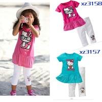 2013New! Girl's Hello Kitty Short Sleeve T-shirt + White Pants/Kids Suit  2pcs /Set  Free Shipping