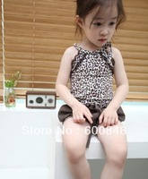 5sets New Summer Kids Clothing Set girls leopard Set 2PCS tank+short Garment, HZ-12-18