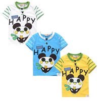 In Stock Best Quality Pretty Price New Arrivals Free Shipping Children's summer short-sleeve 100% cotton T-shirt panda pattern