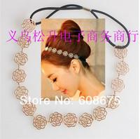 Lovely Chain Elastic Hollow Out Rose Flower Stretch Hair Band Headband Metallic women hairwear