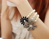 Y017 flower pearl bracelet fashion vintage flower elastic bracelet female gift accessories
