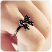 B366 beauty elegant ol elegant all-match black bow ring