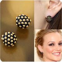 C300 fashion accessories rivet earring black-matrix circle mushroom pendant stud earring elegant Women