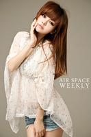 Ladies chiffon v-neck rhinestone decor elastic waist Butterfly sleeve blouse Free shipping