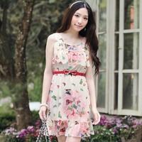 New Arrive women butterfly flower print chiffon scoop neck sleeves ruffles tiered dress Free Shipping
