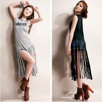 Women scoop neck sleeveless Letter print tassel long shirt top Free shipping