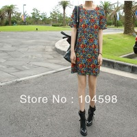 Free shipping! Hot sale lady new fashion sheath mini short puff sleeve print cute pencil chiffon dresses for women 2013 WX-C832