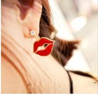E195 trend fashion punk red lips glaze personalized  drop earring