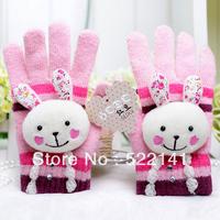 Warm winter rabbit wool mittens cute rabbit Ms. gloves full finger