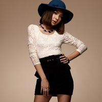 New arrive Ladies lace patchwork scoop neck long sleeve mini dress W belt Free shipping