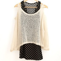 Women two pieces off shoulder knitted blouse shirt W dot print tanks Free shipping