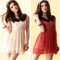 New Arrive women sleeveless peter pan collar elastic waist dot print liner Dress Free Shipping