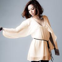 New arrival Women chiffon deep v-neck ruffled blouse Free shipping