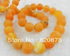 "Wholesale 10mm Orange Dream Fire Dragon Veins Agate Round Gems Loose Beads 15"" Fashion jewelry(China (Mainland))"