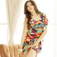 New Arrive Women Millenum irregular sleeves scoop neck geometric blouse Free shipping