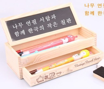 Free shipping delicate wood stationery pencil box with blackboard