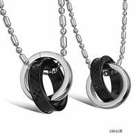FASHION JEWELRY FASHION JEWELRY TITANIUM STEEL DOUBLE CIRCLE GRID PATTERN LOVERS NECKLACE GX643