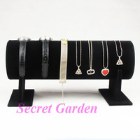 High Quality Il Cerchietto Watch Bracelet Necklace Display Stand T-Bar Velvet Black TVF-WTTB-02II