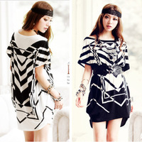 Free shipping Women Boat Neck Batwing Sleeve Striped Decor Tunic Shirt White S