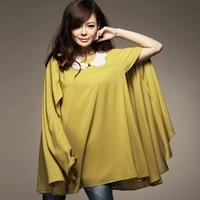 Free shipping Women Yellow full Sleeve Peter Pan Collar Chiffon Cloak Yellow S
