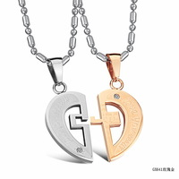 FASHION JEWELRY LOVE PUZZLES NECKLACE couple TITANIUM LOVERS NECKLACE FREE SHIPING GX641-1