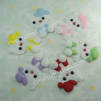60 Pink Purple Red Green Yellow Blue Kitty Cat Felt Applique Scrapbooking Clothes Sewing Craft Favor 6cm x 4cm