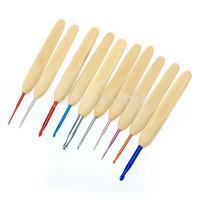 Free Shipping 10 Sizes Bamboo Handle Alumina Head Crochet Hooks Needles 1-6mm