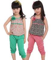 2013 children's clothing female child summer child chiffon sleeveless vest capris child casual set