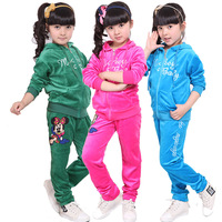 Children's clothing female child 2013 spring velvet sports set child clothes baby sportswear set