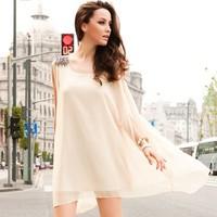 Women chiffon sleeveless scoop neck asymmetrical hem beading decor dress Free shipping