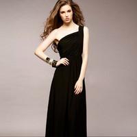 Ladies black one shoulder sleeveless elastic long dress Free shipping