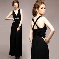 Women black sexy deep V-neck cross back elastic rhinestone decor long dress Free shipping