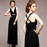 Women black sexy deep V-neck cross back elastic rhinestone decor long dress Free shipping