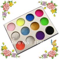 Free Shipping 12 Colors Acrylic Powder Dust Nail Art Powder Nail Set for decoration