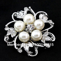 Min.order is $10 (mix order) Free Shipping! 5Pearls Alloy Flower Brooches