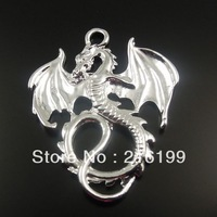 Free Shipping Vintage Style Silver Tone Alloy Flying Dragon Pendant Fashion Charm 35*28mm 24PCS 32440