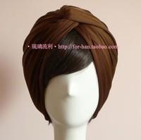 Women High Quality Elastic Silk Headbands Wide Style Bead light coffee chocolate Turban Bandanas Free Shipping drop shipping