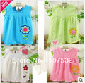 3pcs/lot Free Shipping 100% cotton  embroidered  baby dress ,baby clothes ,flower summer wear