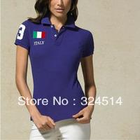 Free Shipping Fashion Country Polo Shirt For Women,Women's Short Sleeve Polo Shirt 100% Cotton Horse  Embroidery