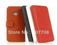 Luxury PU Wallet leather stand the case for HTC ONE M7 ,Lychee Wallet PU Leather Case For HTC ONE M7 free shpping