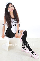 Wholesale 12pairs Fashion Mix Color Lace Over the Knee Socks Thigh High Cotton Stockings Causual Tube Socks Free Shipping LL-008