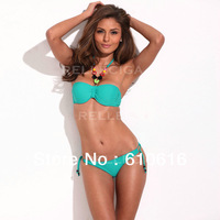 New Aqua Green Storm - RELLECIGA Jungle Jewel 1/2 Cup Bandeau with Mild Push-up Molded Foam Padding Biki