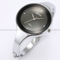 2013 Fashion Silver Stainless Steel Round Case Black Dial Rhinestone Women Lady Bangle Bracelet Quartz Wrist Watch / KIM018